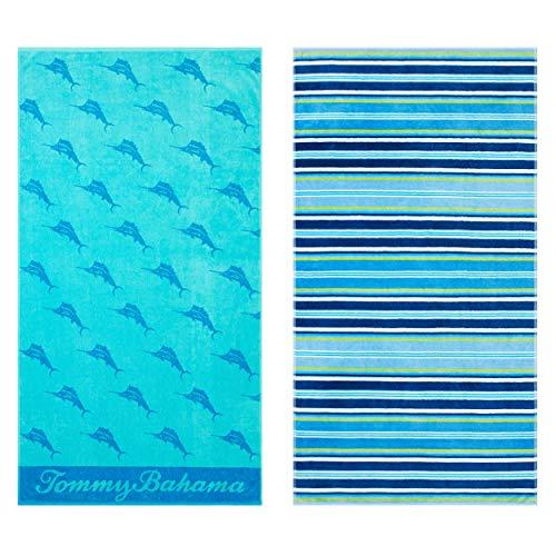 Tommy Bahama Awning Stripe/Oceans Marlin Beach Towel Set 36 x 68