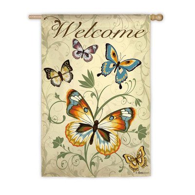 Elegant Butterfly Welcome Flag (Regular Size)