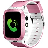 "Dewanxin Kids Phone Watch, Children GPS Tracker Kids Smart watch Phone Toys for 3-12 Year Old Boys Girls Gifts with 1.44"" Touch Screen SIM Solt Pedometer SOS Camera Bracelet Game Smartwatch (White Pink)"