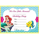 THE LITTLE MERMAID BIRTHDAY PARTY INVITES INVITATIONS X 10 PACK ENVELOPES