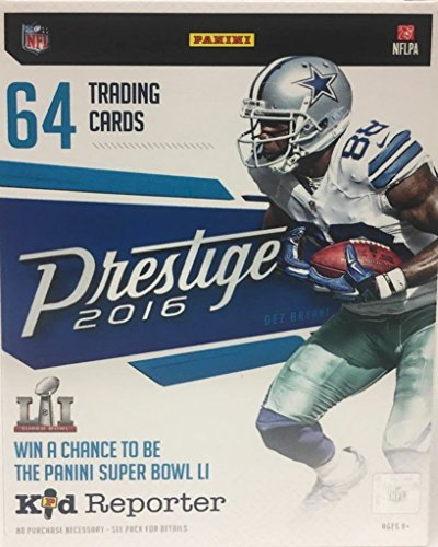 Blaster 8 Pack Trading Cards - 2016 Panini Prestige NFL Football Blaster Box. This Box of 2016 Trading Cards Contains 8 Packs With 8 Card Each. Look For Retail Exclusive Memorabila Cards And Inserts