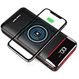 Wireless Portable Charger 25000mAh Power Bank with Three Outputs&Dual Inputs Huge Capacity Backup Battery with LCD Display, Compatible with Smart Phones,Android Phone,Tablet and More