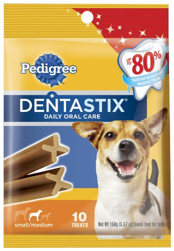 Pedigree Dentastix Daily Oral Care Snack Food for Small/Medium Dogs, 5.57-Ounce Bags (Pack of 10), My Pet Supplies