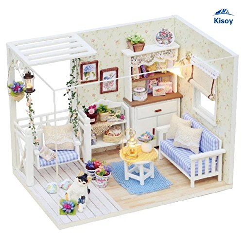 (Kisoy Romantic and Cute Dollhouse Miniature DIY House Kit Creative Room Perfect DIY Gift for Friends,Lovers and Families(Kitty's Choice) )
