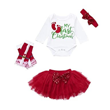 Ropa Bebe Niña Navidad Fossen 3pcs / Conjunto my First Christmas Monos Tops + Tutu Falda + Diadema + Calcetines para Infante 0-24 Meses Recien Nacido
