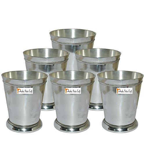 Beaded Glass Tumbler - Prisha India Craft Brass Silver Glass Tumbler, Beaded Mint Julep Design, Capacity 250 ML, Set of 6