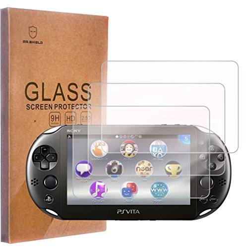 [3-PACK]-Mr Shield For Sony PS Vita 2000 / Sony PlayStation Vita PSV  2000-Max [Tempered Glass] Screen Protector with Lifetime Replacement