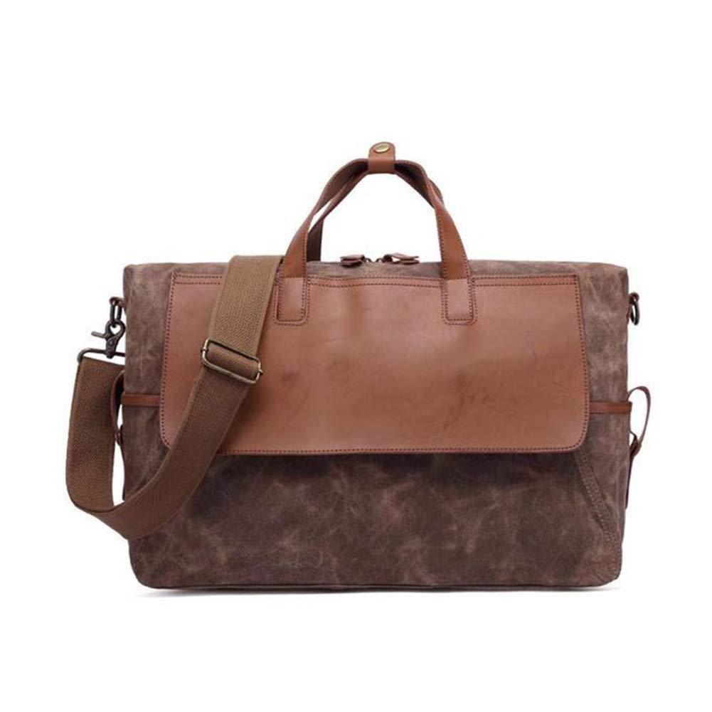 Herren-Handtasche Retro-Öl-Wachs-Wasserdichte Tasche Mit Hoher Kapazität Laptop-Tasche,Coffee
