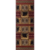 Sierra Bear Novelty Lodge Pattern Red Runner Rug, 2.7' x 7'
