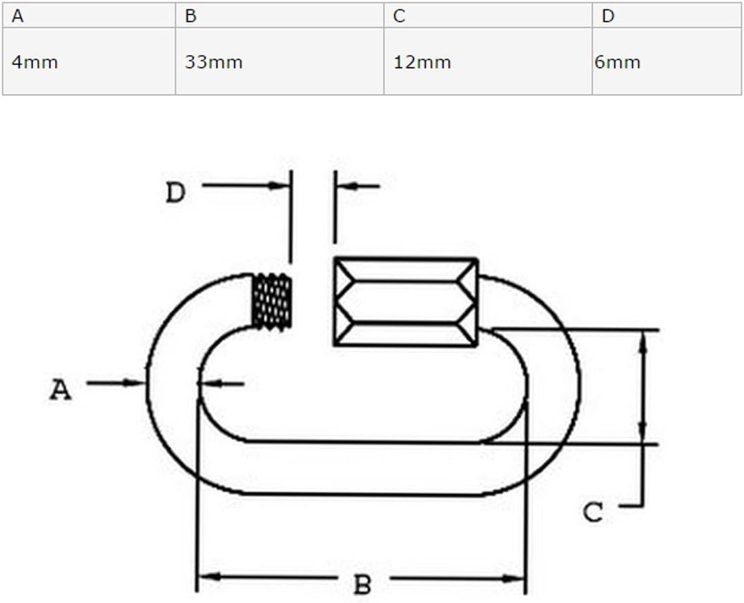 sourcing map /Épaisseur 4 mm Acier Inoxydable 304 Ovale Mousqueton Verrouillage Rapide Lien 4 pc.