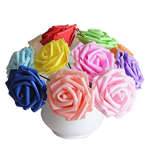 Ewanda store 50pcs 3.2 inch Artificial Foam Rose Flowers DIY Real Touch 3D Flower Heads with Stem for Wedding Party s Bridal Shower Favor Centerpieces Home Decorations,Purple