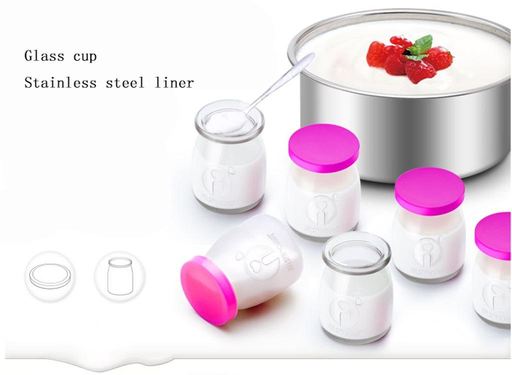 GZD Fabricante de yogur digital fabricante de yogur puro | 1L Revestimiento de acero inoxidable | Con 6 tarros de yogur | Yogur automático de 24 horas ...
