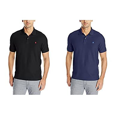 7ecb2f1c IZOD Men's Advantage Performance Slim Pique Polo Shirt, Black and Peacoat,  Small