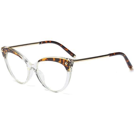 76a566dc1bcad Vendimia Inspirado gafas Medio tintado Marco Clara Lente Gafas de ojo de  gato Para mujeres