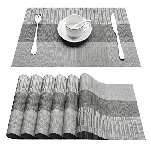 Top Finel Placemats,Vinyl Table Mats Set of 6,Heat Resistant Place Mats for Dining Table Washable Anti-Skid,Grey&Silver
