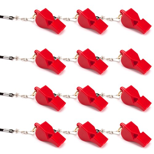 Crown Sporting Goods Ultra Loud High Pitch Red Plastic Whistle, 12-Pack
