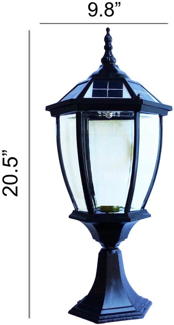 The Round Extra Large Solar Post Cap Lights or Solar Pillar, Diameter: 9.8 Inch; Height: 20.5 Inch. Solar Powered Post Caps. Elegantly Designed Solar Light Post Caps (New Black)