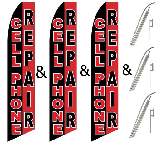 Black Cell Kit - Three (3) Pack Swooper Flags & Pole Kits Cell Phone Repair Red White Black Vertical