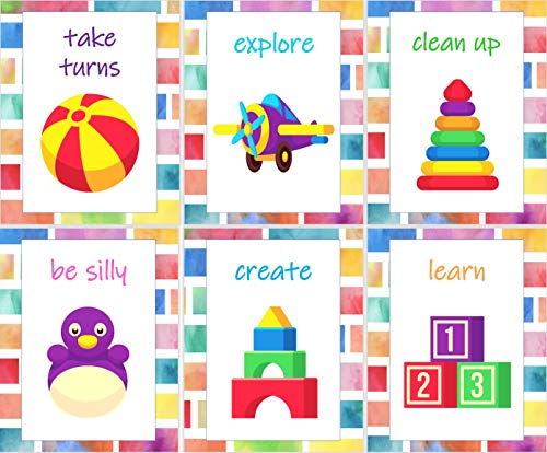 Playroom Rules Wall Decor - Set of 6 Colorful Art Prints - 8x10 - Unframed