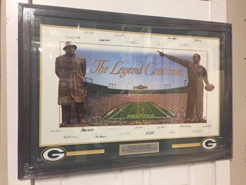 Green Bay Packers The Legend Continues Framed Lithograph Autographs Lambeau Field Brett Favre Reggie White