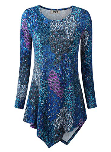 DJT Women's Hankerchief Hemline Floral Tunic Top XX-Large Blue Print-3