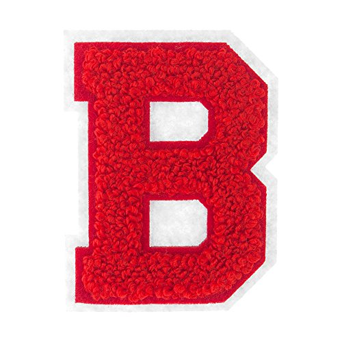 B - Red on White - 2.5 Inch Heat Seal Chenille Varsity Letter - Varsity Jacket Patches