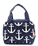 Navy Blue Nautical Anchor Print Canvas Small Insulated Lunch Tote Bag