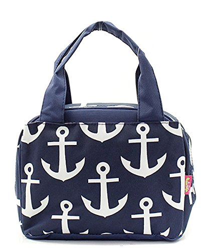 Navy Blue Nautical Anchor Print Canvas Small Insulated Lunch Tote Bag by Handbag Inc (Image #4)