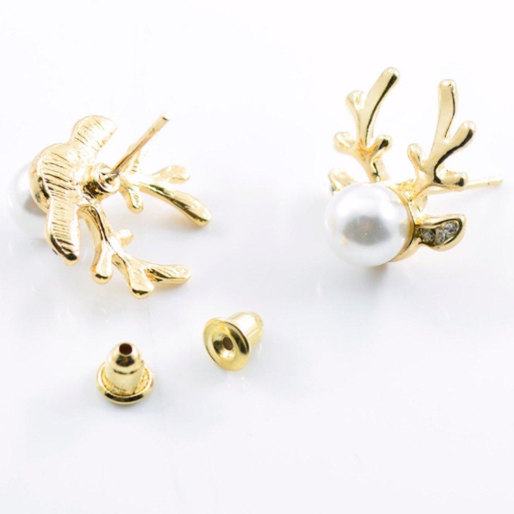BSGSH Stud Earrings – Silver/Gold Plated Anlter Faux Pearl Stud Earrings for Women Men Ear Piercing Earrings (Gold)