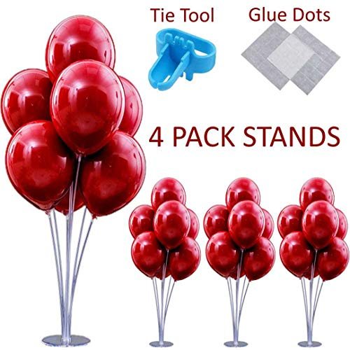 4 PCS Stable Table Balloon Stand Kit for party decoration. In set - 28 centerpiece sticks with cups, 4 column base, glue dots and tying tool. Made your ballon bouquet holder quick and easy! By AletT