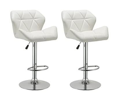 Incredible Duhome 2 Pcs Contemporary Synthetic Leather Bar Stools Kitchen Counter Pub Chairs White Alphanode Cool Chair Designs And Ideas Alphanodeonline
