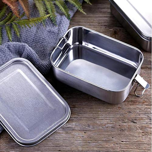 FOOLS ALIBAI Auslaufsichere Brotdose aus Edelstahl, Bento-Box, 800ml Steel Metal Lunch Box, Food Containers with Lock Clips & Removable Divider Lunchbox