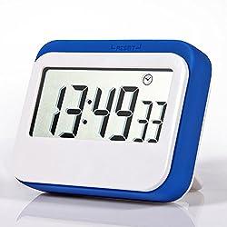 Jamal Digital Timer Time Timer For Kids Kitchen Timer Electric Timer Visual Timer Countdown Timer Shower Timer Multifunction Large LCD Display, Big Digits, Loud Alarm, Magnetic Backing, Stand (Blue)