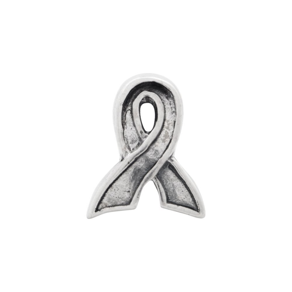 8.2mm x 10.9mm Solid 925 Sterling Silver Reflections Awareness Ribbon Bead