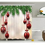 Ambesonne Christmas Shower Curtain, Xmas Traditional Winter Season Theme Fir Twigs and Vibrant Balls Graphic Print, Fabric Bathroom Decor Set with Hooks, 84 Inches Extra Long, Green Red
