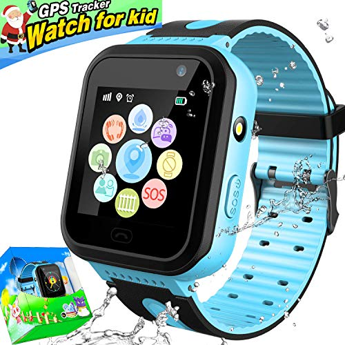 - Kids Smart Watch Phone, IP67 Waterproof GPS Tracker with SIM Pedometer Fitness Tracker Boys Girls Wrist Sport Watch Game SOS Alarm Clock Birthday Gift (Blue)