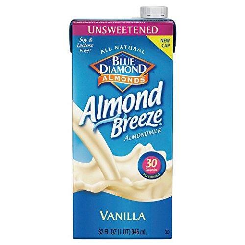 Blue Diamond Breeze Almond Milk Unsweetened, 32 Ounce (Pack of 12)