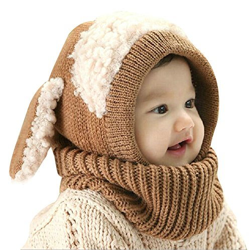 Elfjoy New Year Gift Baby Girls Boys Earflap Hood Scarf Winter Knitted Hat Cute Dog Style Crochet Caps by (Khaki)
