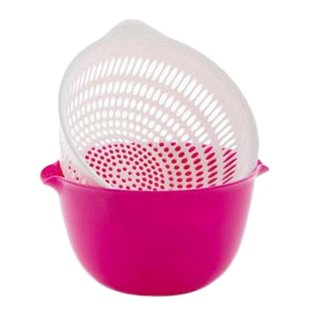Lumanuby 1X Fruit Basket Dripping Sieve Vegetables Basket Fruit Basket Wash Rice And Basket,Water Basket Filter Sieve(Blue)