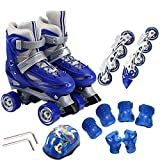 Kids Training Double Row Inline Skates 2 In 1 Adjustable Roller Skates Set 4 Round Rollerblades For Beginners Toddlers Children Boys Girls Blades Rollerblades Ice Skate,Blue-M