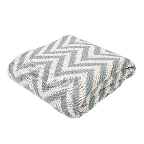 Ben and Jonah Soft Hand Chevron Pattern Cotton Throw Blanket (Blue Grey) by Ben&Jonah (Image #2)