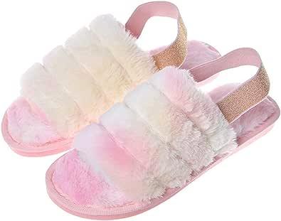 Zapatillas De Casa para Mujer Zapatillas De Piel Sintética con Punta Abierta De Espuma Viscoelástica Zapatillas Mullidas para Interiores Y Exteriores