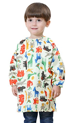 Toddler Baby Waterproof Pullover Sleeved Bib Children Animal Cartoon Printing Thin Breathable Painting Eating Playing Apron Smock Yellow 1-2 T by DAWNTUNG