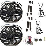 """Dual 2 12"""" Curved Blade Reversible Cooling Fans 12v 1400cfm + Thermostat Kit"""