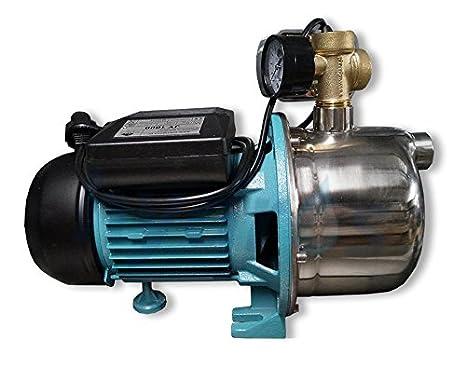 Bomba de agua 1100 vatios 60L/min con interruptor de presión con protección contra el funcionamiento en seco, con caseta de bombeo de la bomba del jardín ...