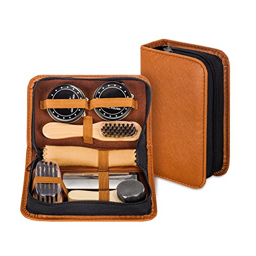 Shoe Shine Kit with PU Leather Sleek Elegant Case, 7-Piece Travel Shoe Shine Brush kit by make it funwan