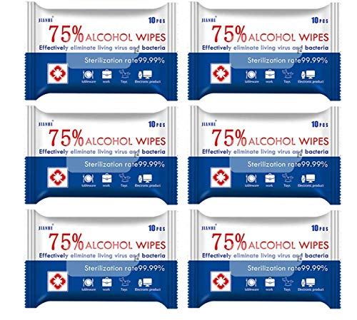 6 Packs/60 Pcs 75% Alcohol Wipes, ZXK CO Portable Disinfection Wipes Large Size Wet Wipes for Hands Cleaning, Tables…