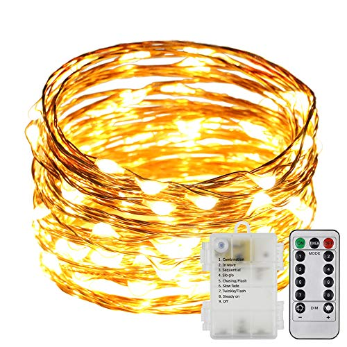 ER CHEN 8 Lighting Model Indoor and Outdoor Waterproof Battery Operated 100 LED String Lights on 33 Ft Long Ultra Thin Copper String Wire with 13 Key Remote Control(Warm White)
