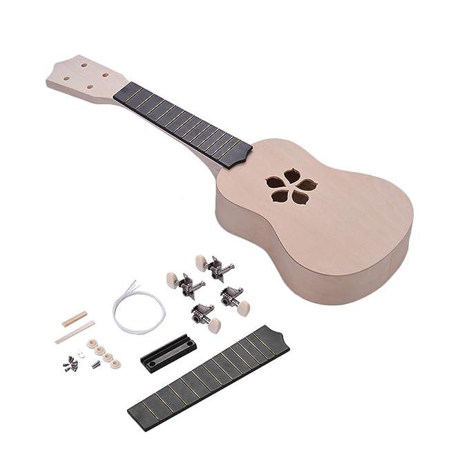 21 Inches Unfinished Diy Ukulele Ukelele Uke Kit Basswood Body & Neck Rosewood Fingerboard & Bridge Nylon String Musical Instruments
