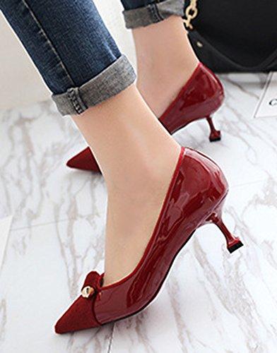 Easemax Moda Donna Scarpe A Punta Tacco Gattino Scarpe Rosso Vino